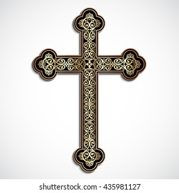 elegant ornamental 3d cross with shadow / vector eps10
