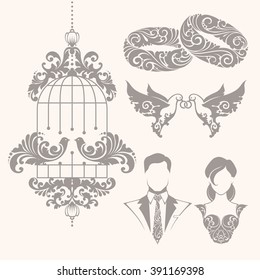 Elegant ornamental decorative wedding symbols and illustrations set for invitation, banner, poster, business sign, identity, branding. Ornate couple of doves with rings, bride, groom, couple rings
