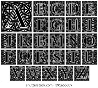 elegant ornamental letter alphabet / vintage capital vector set