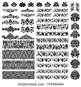 Elegant ornamental vintage design elements collection