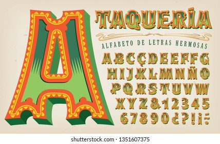 An elegant and ornate alphabet with a hispanic or latino flair. This font would be at home on a restaurant menu or sign.