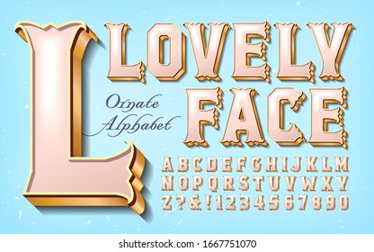 An elegant and ornate alphabet in rose and pearl tones on a light blue background. This soft pink font has elaborate serifs and 3d gilded depth; A sweet reimagining of old west and circus typography.