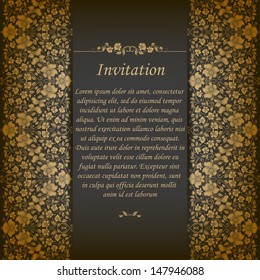 Elegant ornate background with lace seamless ornament for invitations, greeting card, menu. Floral elements, place for text. Vector EPS 10.