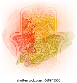 Elegant ornate hand drawn Hamsa Hand of Fatima. Good luck amulet in Indian, Arabic Jewish cultures. Vintage style handcrafted watercolor isolated vector illustration.