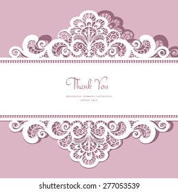 Elegant ornate lace frame, vector greeting card or invitation template