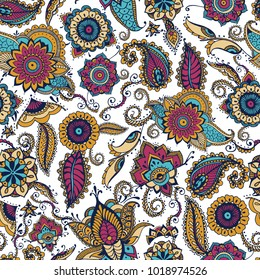 Elegant paisley seamless pattern with colorful Indian buta motif and floral mehndi elements on white background. Motley vector illustration for textile print, wallpaper, wrapping paper, backdrop.