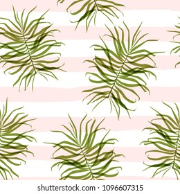 Elegant palm leaves against the background of pale pink strips. Fashionable seamless pattern for printing on fabric, clothing. dishes. wallpaper, paper and other surfaces.