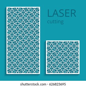 Elegant panels with lace pattern, swirly lattice ornament, template for laser cutting or wood carving, cutout paper design, vector decoration for wedding invitation card, eps10