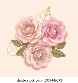Elegant paper beige and peach pink roses with golden leaves in light soft luxury background, Paper flover composition  in 3d style realistic vector illustration. EPS 10
