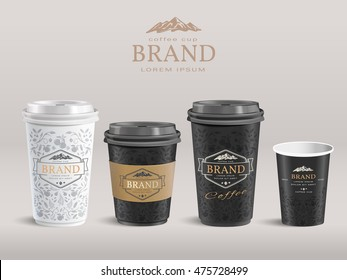 Elegant paper coffee cup design, takeaway cup packaging set with labels. 3D illustration.