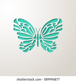Elegant paper cut turquoise lacy butterfly. Laser cut wedding invitation or greeting card design template. Vector illustration.