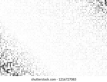 Elegant pattern with black polka dots of small and large scale. Splatter background. Black glitter blow explosion and splats on white. Grunge texture. Vector illustration