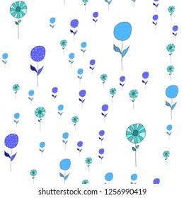 Elegant Pattern with Different Color Flowers. Elements are not cropped. Pattern under the mask. Vector. Perfect design for textile, box, posters, cards, brochures, web etc.