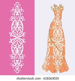 Elegant pattern with an example of applying on a long orange evening dress. Evening gown, princess costume. Vector color illustration