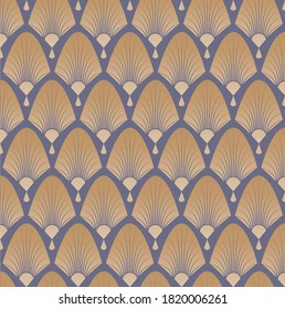 Elegant pattern with fans in style of roaring 20s, art deco, great gatsby. Vector pattern illustration.