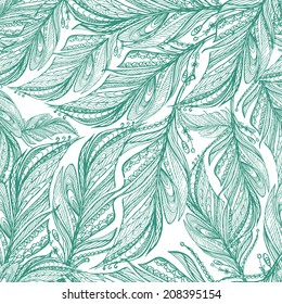 elegant pattern of feathers hand drawing in ethnic style - vector seamless print fabric, wallpaper, textiles