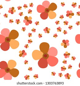 Elegant Pattern with Flowers Living Coral color. For your design, textile, pattern fills, posters, cards, background etc. Elements are not cropped. Pattern under the mask. Vector.