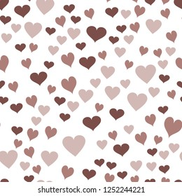 Elegant Pattern with Hearts  in chocolate color. Elements are not cropped. Pattern under the mask. Vector. Perfect design for textile, box, posters, cards, web etc.