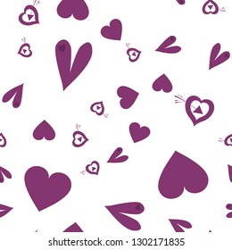 Elegant Pattern with Hearts Dark moderate pink color. Endless pattern can be used for design, textile,  pattern fills, posters, cards, web page background etc. Pattern under the mask. Vector.