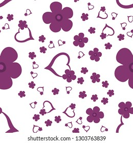Elegant Pattern with Hearts and Flowers Dark moderate pink color. For your design, textile, pattern fills, posters, cards, background etc. Elements are not cropped. Pattern under the mask. Vector.