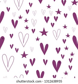 Elegant Pattern with Hearts and Stars Dark moderate pink color. This pattern can be used for design, textile,  pattern fills, posters, cards, web page background etc. Pattern under the mask. Vector.