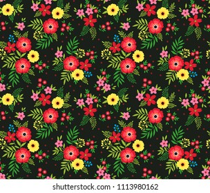 Elegant pattern in small flowers are scattered on the surface. Liberty style. Floral seamless background. Ditsy print. Vector texture. A bouquet of spring flowers for fashion prints.