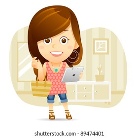 Elegant People Series | Shopping Lady with tablet PC