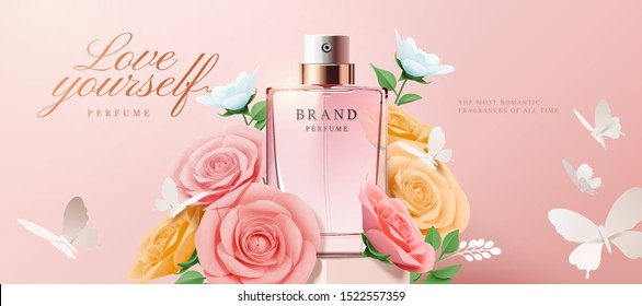 Elegant perfume banner ads with paper roses and flowers on pink background in 3d illustration