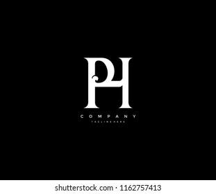 Elegant PH Letter Linked Monogram Design Logotype