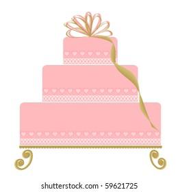 Elegant Pink Cake on Ornate Cake Plate