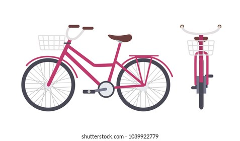 Elegant pink city bike or urban bicycle with step-through frame and front basket isolated on white background. Modern pedal-driven vehicle. Front and side views. Colorful vector illustration.