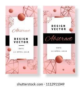 Elegant pink event banner design with geometrical shapes and golden shapes