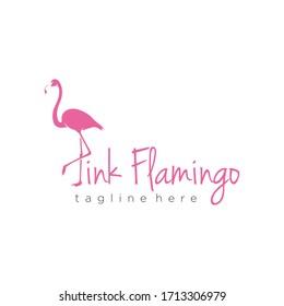Elegant Pink Flamingo Logo Design