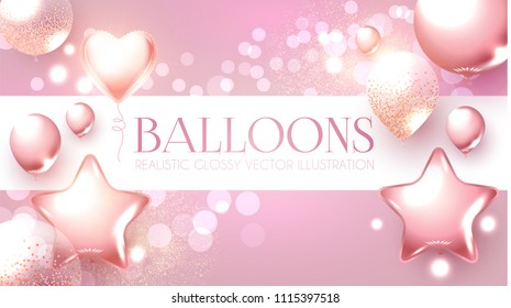Elegant Pink Flying Balloons with Bokeh Effect. Wedding, Birthday and Anniversary Background.Vector illustration