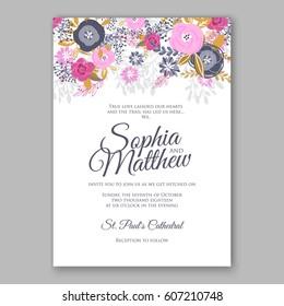 Elegant Pink Rose Wedding Invitation Card Bridal Bouquet with  eucalyptus