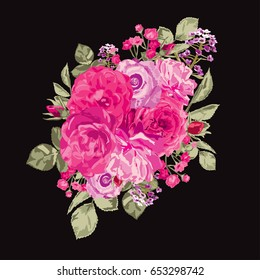 Elegant pink roses floral bouquet, design element. Floral composition can be used for wedding, baby shower, mothers day, valentines day cards, invitations, print, textile, scrapbook. Editable.