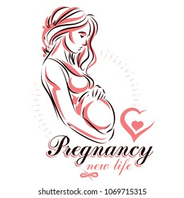 Elegant pregnant woman body silhouette drawing. Vector illustration of mother-to-be fondles her belly. Gynecology and pregnancy medical care clinic promotion leaflet