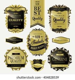 elegant premium golden quality labels collection set