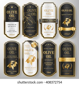 elegant premium olive oil labels set collection over pearl white