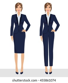 Elegant pretty business woman in formal clothes. Base wardrobe, feminine corporate dress code. Collection of full length portraits of business woman. Vector illustration isolated on white.