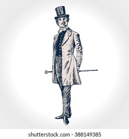 Elegant proud man of the nineteenth century. The gentleman in a frock coat and a top hat, holds a cane in hand. Hand drawn vector illustration in vintage engraved style