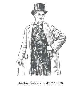 Elegant proud man of the nineteenth century. The gentleman in a  overcoat and a top hat, holds a cane in hand. Hand drawn vector illustration in vintage engraved style. Monochrome style