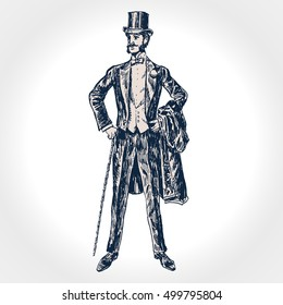Elegant proud man of the nineteenth century. Gentleman in tuxedo and bow tie and top hat, holds a cane in hand. Socialite. Hand drawn vector illustration in vintage engraved style
