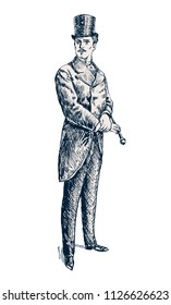 Elegant proud man. Victorian Era. The gentleman in a frock coat and a top hat, holds a cane in hand. Hand drawn vector illustration in vintage engraved style