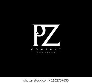 Elegant PZ Letter Linked Monogram Design Logotype