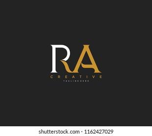 Elegant RA Letter Linked Monogram Logo Design