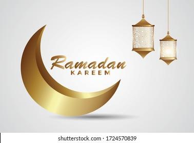 Elegant ramadan kareem with golden moon and golden lamp for background illustration. EPS 10