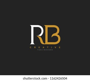 Elegant RB Letter Linked Monogram Logo Design