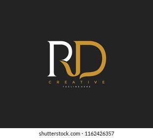 Elegant RD Letter Linked Monogram Logo Design