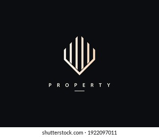 Elegant real estate, building, apartment, palace, architecture logo.  Real estate logo buildings design vector template.